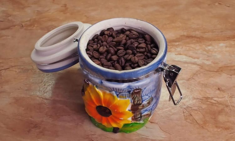 Coffee In Ceramic Container